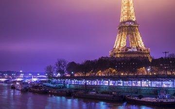 ночь, фонари, канал, франция, катера, эйфелева башня, катер, франци, берег моря