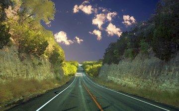 облака, деревья, природа, шоссе