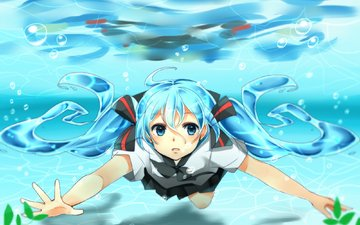 art, water, plants, girl, vocaloid, surprise, schoolgirl, bottle miku, yuragiyura