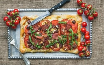 сыр, колбаса, помидоры, пицца, помидорами, ветчина, быстрое питание
