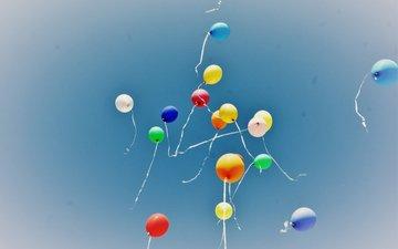 шары, праздник, окрас, неба, воздушные шарики, аир, colorfull, выпускной, ballons