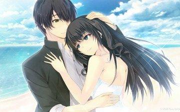 girl, guy, anime, romance, hugs, tokyo babel