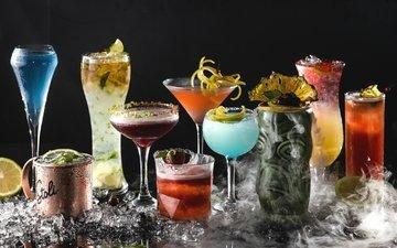 коктейль, бокалы, алкоголь, ассорти