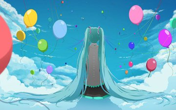 the sky, art, clouds, girl, balls, sitting, back, vocaloid, long hair, mashunya-chan, hatsune miku