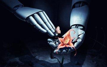 цветы, арт, фантастика, робот, бабочки, руки