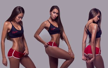 girl, background, brunette, shorts, model, photographer, sport, photoshop, makeup, hairstyle, figure, collage, fitness, sports, sexy, fedor shmidt, slim, topic