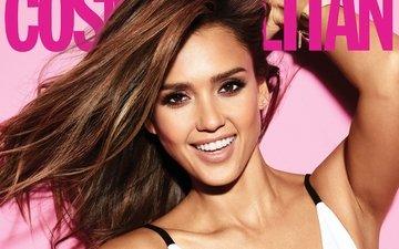 девушка, улыбка, звезда, модель, волосы, актриса, джессика альба, джесика альба, cosmopolitan