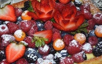 малина, клубника, ягоды, пирог, ежевика, голубика