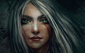 глаза, арт, девушка, волосы, лицо, шрам, ласточка, цирилла фиона элен рианнон, цири, львёнок из цинтры, фалька, изумрудные, пепельные, персонаж цикла ведьмак