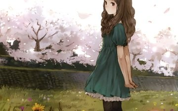 flowers, art, trees, girl, anime, sakura, kishida mel