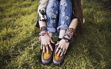 hands, shoes, bracelets, baubles