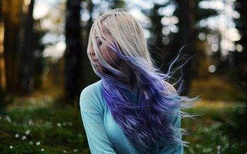 цветы, лес, девушка, волосы, цветы, волос, фиолетовый-светлые волосы
