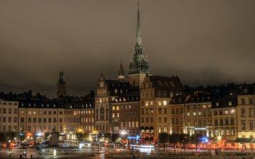 ночь, фонари, город, дома, швеция, стокгольм