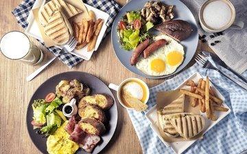 кофе, хлеб, мясо, картофель, сосиски, яичница, ассорти, блюда