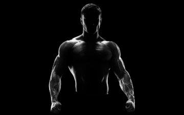 человек, силуэт, мужик, фитнес