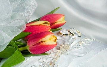 украшения, ленточки, тюльпаны, кольца