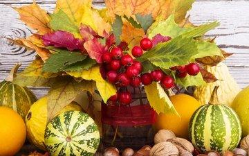 листья, орехи, осень, ягоды, урожай, тыква, натюрморт, осен, fruits, гайки, листья, красотуля, дары осени