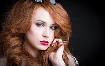 девушка, взгляд, очки, лицо, актриса, красные губы, рыжеволосая, рыжие волосы, карен гиллан