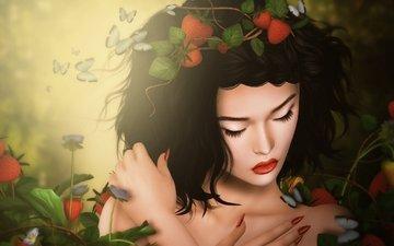 девушка, брюнетка, грусть, клубника, бабочки
