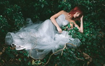 forest, girl, dress, sleep, lies, sleeping, red, thickets, ivy