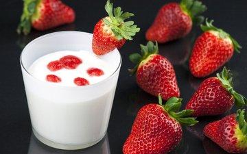клубника, ягоды, берри, молоко, йогурт, молока