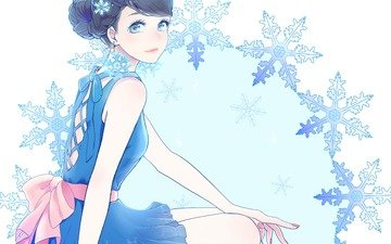 art, girl, snowflakes, dress, sitting, setsuko, sekkisei