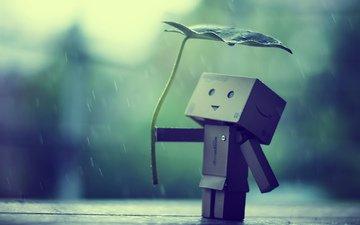 бумага, робот, дождь, данбо, картонный человечек, картонный робот, листик-зонт