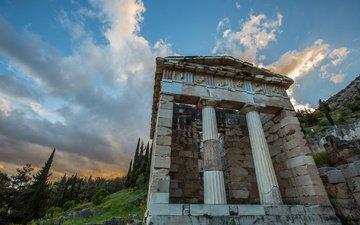 храм, склон, архитектура, греция, колонны, дельфы