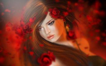 цветы, девушка, брюнетка, розы, красные, волосы