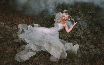 forest, needles, girl, dress, blonde, fog, smoke, lies