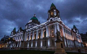 ночь, огни, памятник, city hall, белфаст, северная ирландия