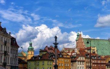 небо, облака, краски, дома, крыша, польша, старый город, городской пейзаж, варшава, колонна сигизмунда