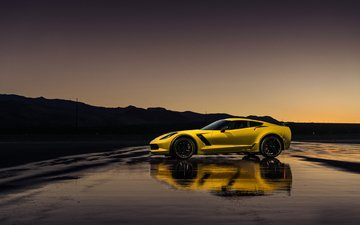 yellow, chevrolet, corvette