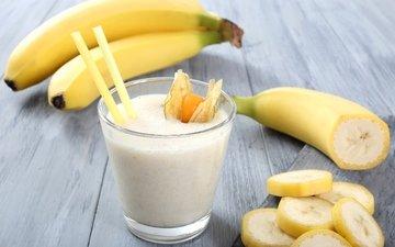 коктейль, молоко, водопой, бананы, молока