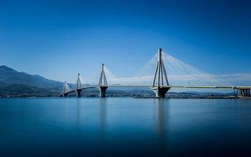 горы, греция, опора, коринфский залив, вантовый мост рион-андирион