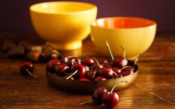стол, пара, ягоды, вишня, желтые, натюрморт, пиалы