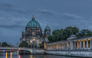 the sky, lights, the evening, river, bridge, germany, berlin, cathedral