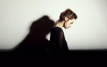 девушка, тень, профиль