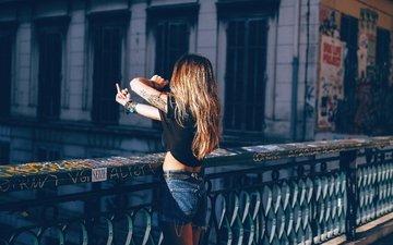 девушка, мост, волосы, знак, фигура