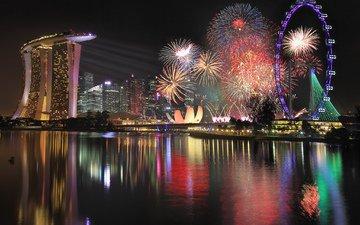 ночь, салют, колесо обозрения, небоскребы, мегаполис, отель, сингапур