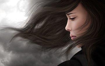 девушка, брюнетка, грусть, профиль, волосы, ветер, печаль