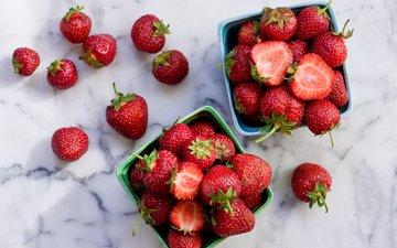 красная, клубника, ягоды, свежая, коробочки