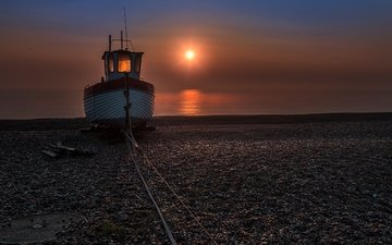 night, shore, sea, beach, ship
