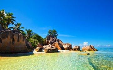 небо, природа, камни, море, скала, пляж, острова, пальмы, океан, отдых, тропики, сейшельские острова