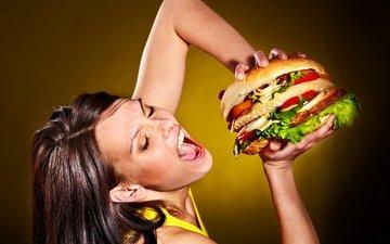 гамбургер, женщин, диета, excess calories