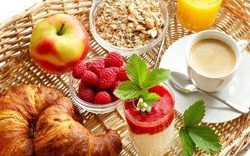 малина, кофе, яблоко, мюсли, сок, круассаны, эппл, baking
