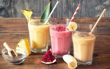 фрукты, коктейль, напитки, молоко, банан, ананас, граната, гранат
