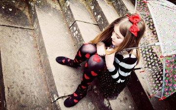 лестница, настроение, грусть, дети, девочка, ребенок, зонтик