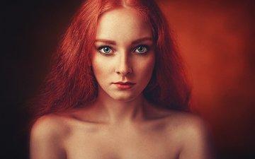 глаза, девушка, взгляд, модель, губы, елена, рыжеволосая