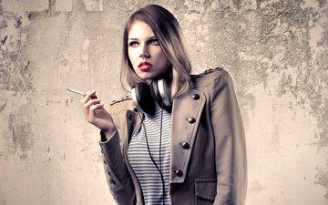 girl, look, headphones, lips, face, cigarette